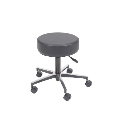 Drive Medical Padded Seat Revolving Pneumatic Adjustable Height Stool With Metal Base, Black front-1036208