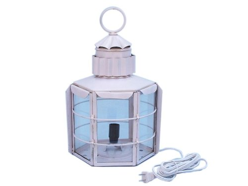 """Handcrafted Nautical Decor Iron Clipper Electric Lamp, 11"""", White, Iron"""