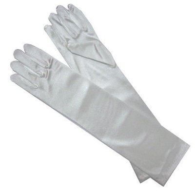 Satin Long Child Size Girls Formal Gloves (4 - 7, White)