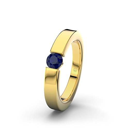 21DIAMONDS Cagliari Engagement Women's Ring 14 Carat (585) Yellow Gold Stunning Round Brilliant Cut Blue Sapphire Color Engagement Ring
