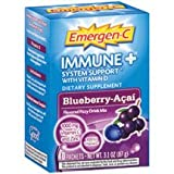 Alacer Emergen-C Immune Plus System Support with Vitamin D Blueberry Acai, 10 Pk