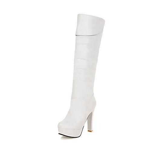 voguezone009-femme-haut-eleve-tire-a-talon-haut-rond-bottes-blanc-36