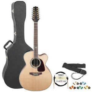 Takamine Gj72Ce-12Nat Jumbo Cutaway 12-String Acoustic Electric Guitar W/ Strap, Cable, Pick Sampler & Hard Case