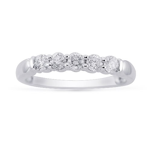 Women's 14k White Gold Diamond Anniversary Ring (1.00 Cttw H-I Color, SI2-I1 Clarity), Size 6