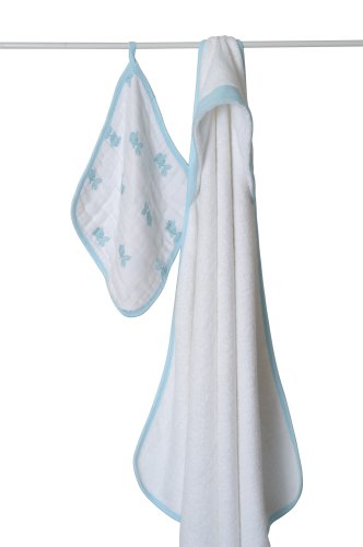aden + anais Towel with Muslin Washcloth, Aqua Fish (Previous Version) (Discontinued by Manufacturer)