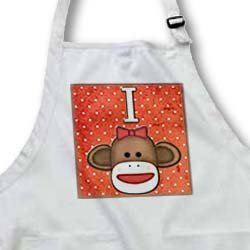 Dooni Designs Monogram Initial Designs - Cute Sock Monkey Girl Initial Letter I - Aprons