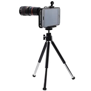 SODIAL(TM) Long Focal 8x Optical Zoom Telescope Lens for Apple iPhone 4 4G Black (Include Universal Holder, Mini Tripod, Cleaning cloth, Black Bag and Case)