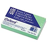Oxford(R) Colored Recycled Index Cards, Unruled, 3in.x 5in., Green, Pack Of 100