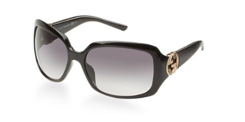 Gucci Women's 3164/S Rectangle Sunglasses,Shiny Black Frame/Grey Gradient Lens,One Size