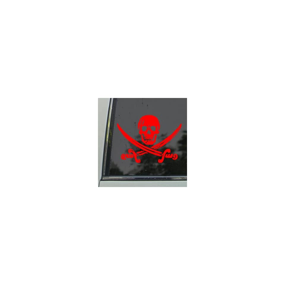 Jack Rackham Jolly Roger Pirate Red Decal Car Red Sticker