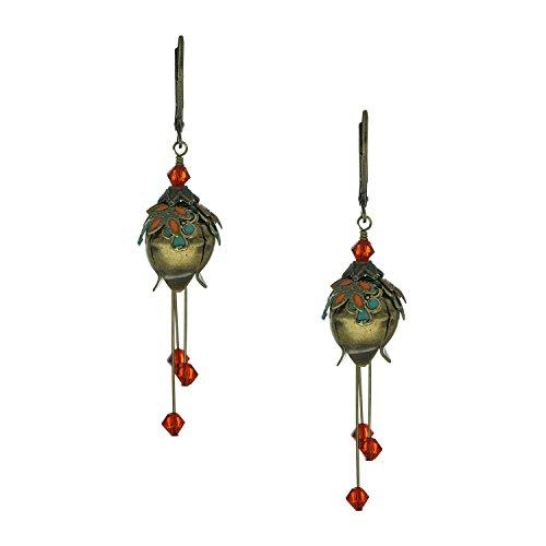 [NoMonet Flower Fairy Vintage Style Hand Painted Lily of the Vale Dangle Earrings - Green, Orange] (Clockwork Orange Costume Female Diy)