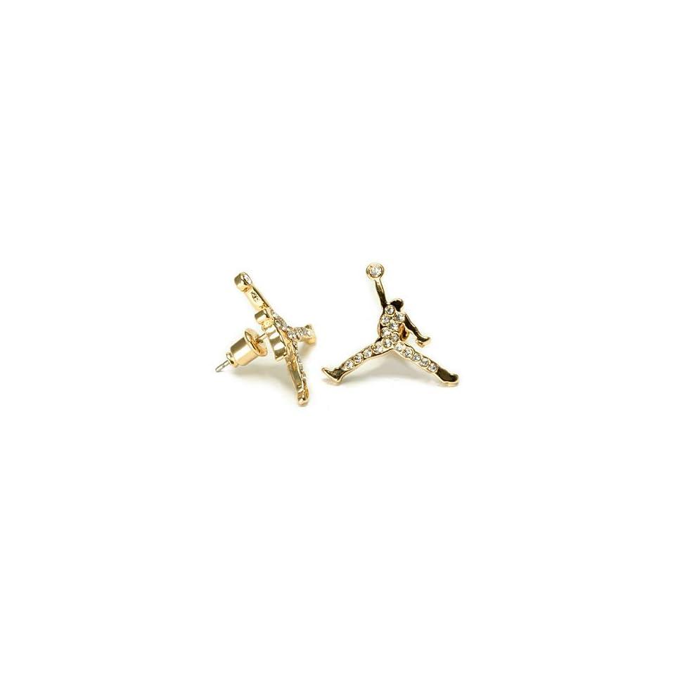 gold iced cz michael inspired jumpman stud earrings