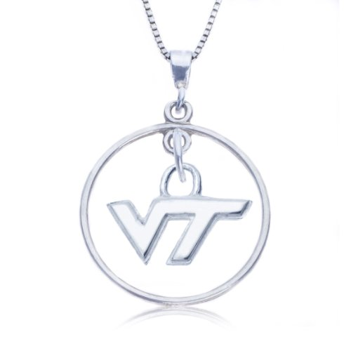 Sterling Silver Open Drop Virginia Tech Necklace
