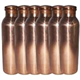 Anupam Handmade 100% Pure Copper Yoga Water Bottle Set Of 6 -1000ml, Leak Proof & Joint Free For Ayurvedic Health...
