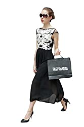 Fastkharidi New look Black colour Faux Georgette Evening Cocktail Party Dresses ( Semi Stitched )