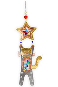 Pilgrim Imports Paws Up Kitty Metal Fair Trade Ornament