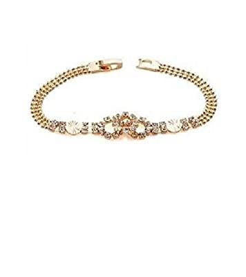 Simply Glamorous Jewellery- 9ct Gold Filled Rosary Bead Bracelet with Simulated diamond 8''