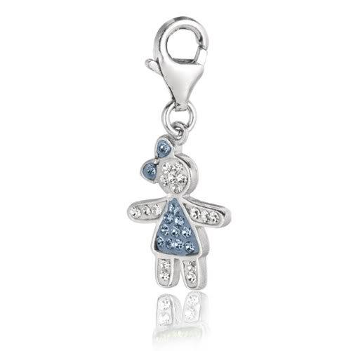 Sterling Silver Enamel & Crystal December birthstone clip-on girl charm