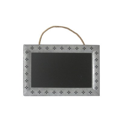 cheungs-rectangular-chalk-board-with-galvanized-metal-frame-featuring-cutout-petals-and-hanging-rope