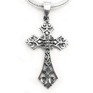 sterling silver celtic filigree cross pendant