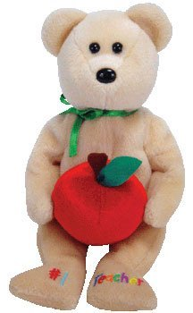 TY Beanie Baby - #1 TEACHER the Bear (Internet Exclusive) Bear holding Apple