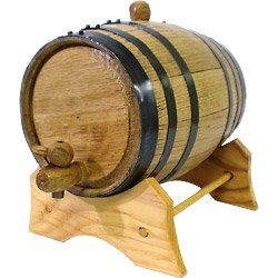 Oak Beverage Dispensing Barrel with Black Steel Bands: 3 Liter - Beer
