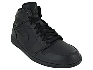 Nike Men's NIKE AIR JORDAN 1 MID BASKETBALL SHOES 9.5 Men US (BLACK/BLACK/BLACK)