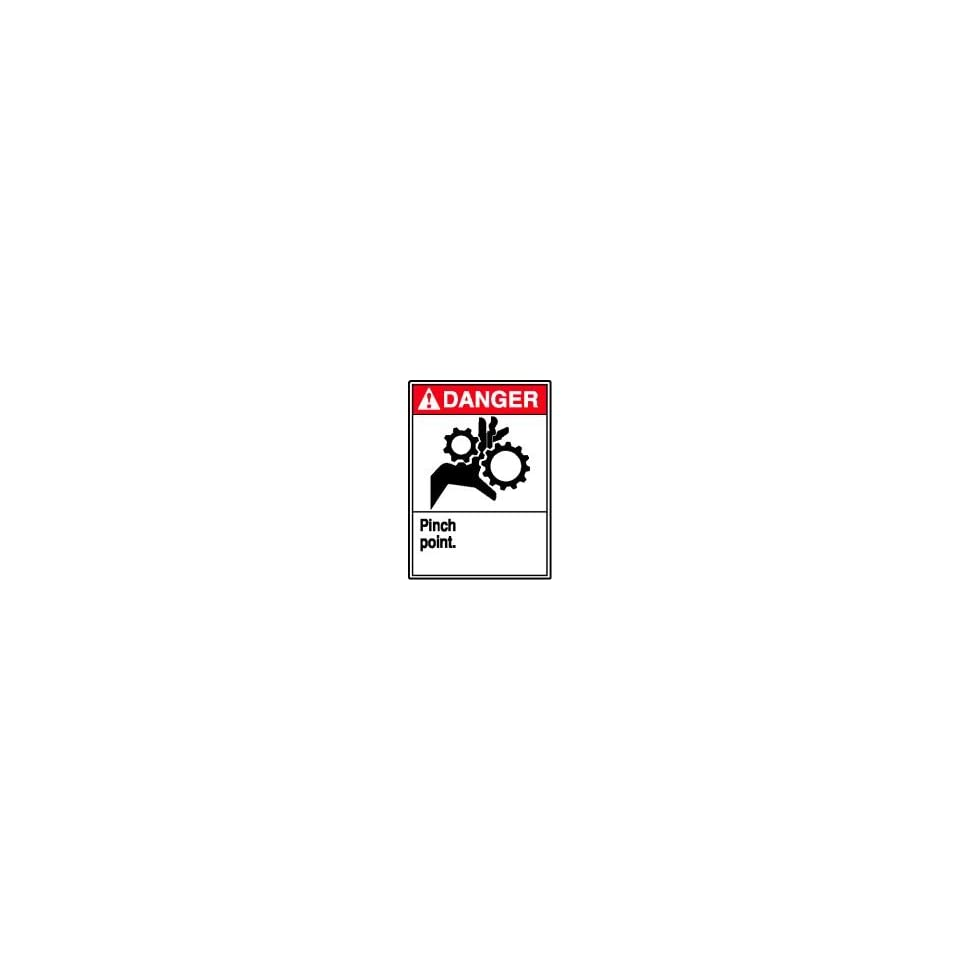 DANGER Labels PINCH POINT (W/GRAPHIC) Adhesive Vinyl   5 pack 5 x 3 1/2