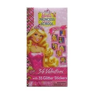 Barbie Princess Charm School Valentines 34 Cards with 35 Glitter Stickers (AGES 3 AND UP)