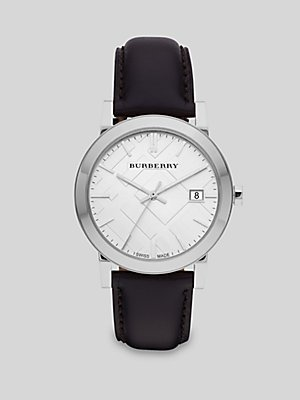 Burberry The City Silver Dial Black Leather Mens Watch BU9008