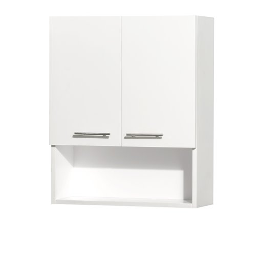 Centra wall mounted bathroom storage cabinet in white two for Bathroom 2 door wall cabinet