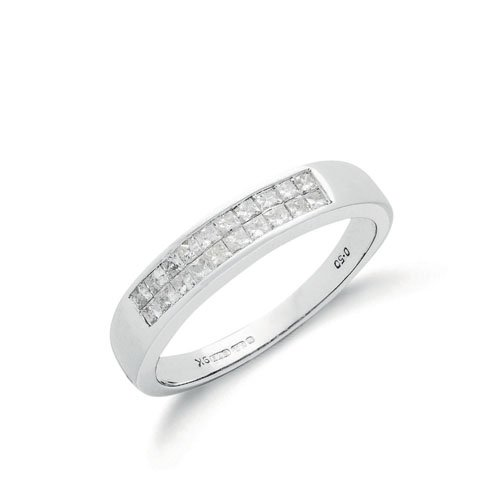18ct White Gold 0.50ctw Princess Cut 2 Row Diamond Eternity Ring