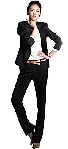 (マドルガーダ) Madrugada【ベルト付き】 レディース フォーマル パンツスーツ 革靴クリーナー付き 4点セット 上下 セット 通勤 正装 オフィス 仕事 入学式 卒業式 OL R27 (S, ブラック)