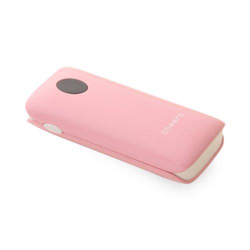 cheero Grip 5200mAh (ピーチ) 大容量モバイルバッテリー (2.1A,1A 2出力ポート/ ポーチ付/半年保証)
