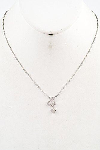 Glitz Finery Crystal Heart Pendant Necklace (Rhodium)