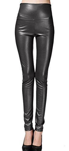 Marvoll Women's Shiny Metallic Slim Full Length Leggings Pants (XX-Large, Black)