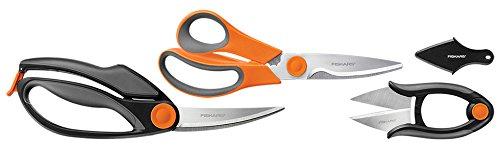 Fiskars 3 Piece Heavy-Duty, All-Purpose Fast-Prep Kitchen Shears Set, Gray