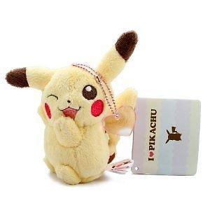 "Doll Banpresto Pokemon I Love Pikachu Ball Chain Plush - 4.5"" Pikachu Pink Heart front-828990"