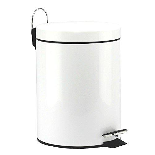Round Step Trash Can Bath Room White Kitchen Waste Basket