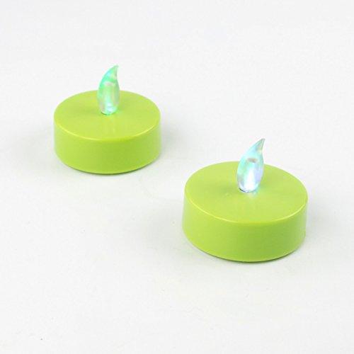 LED Teelicht XL 2Stück ø5,5cm Farbwechsel Grün LED Kerze LED Deko
