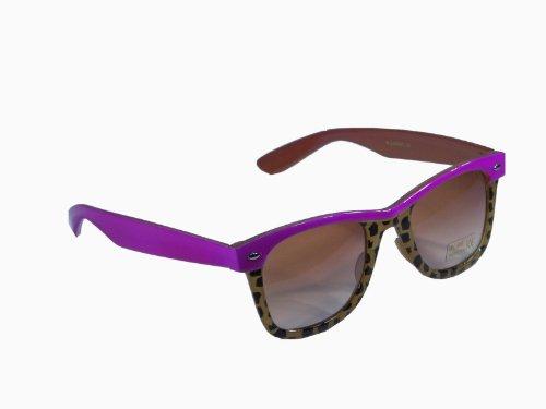 Sonnenbrille im 'Wayfarer Style' mit Tiermuster * zweifarbiger Rahmen * Bügel im Animal Look, Fb.:pink