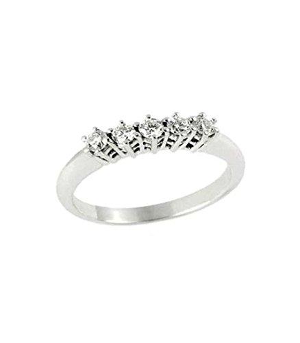 Lunatica Gioielli Anello veretta donna in oro bianco 750/°°° con diamanti -FD10-30