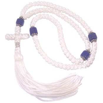 White Knotted wool chotki Rosary - Komvoschinia with blue Glass and Silver beads (100 Knots 17