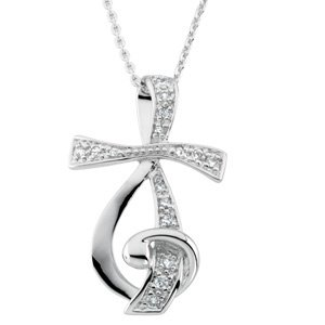 Sterling Silver Sing for Joy Pendant with Cz and 18