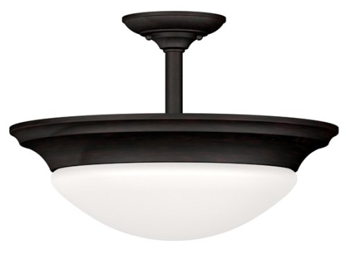 Kenroy Home 80363ORB Dickens Two-Light Semi-Flush Light With 13-Inch White Glass Shade, Oil Rubbed Bronze