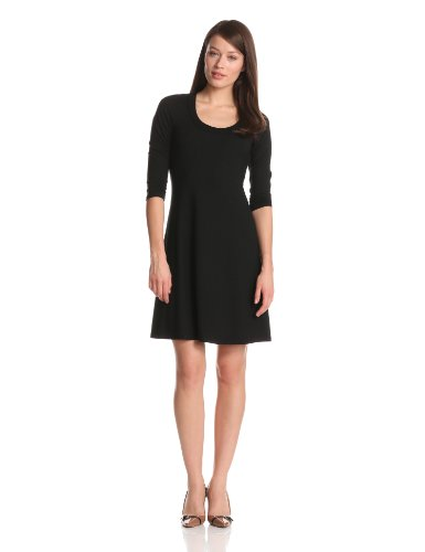 karen-kane-womens-3-4-sleeve-a-line-dress-black-x-large