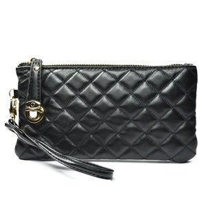 KLOUD City® Black synthetic leather soft women wallet with a wristlet