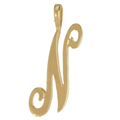 Jewelco London 9ct Gold Script Initial ID Personal Pendant, Letter N -1.7g