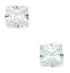 14k White Gold 8x8mm Square CZ Light Prong Set Earrings - JewelryWeb