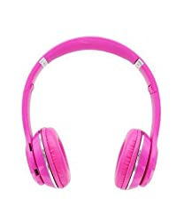 Micomy S-460 Wireless Bluetooth Headphone with Aux cable connector -Pink